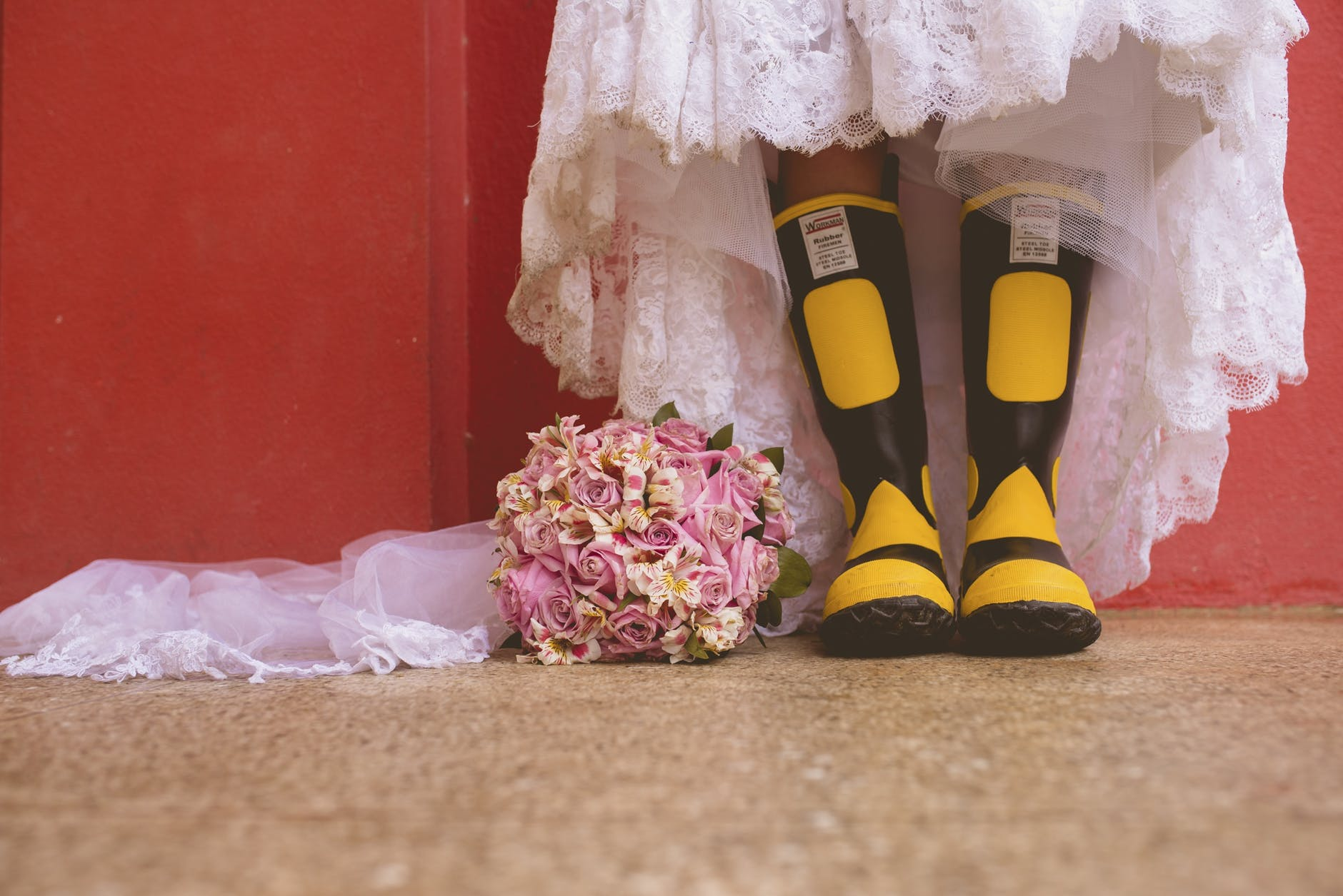 boots bridal bouquet bride celebration